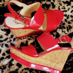 Stunning red Franco Sarto Wedge Sandals